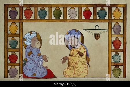 Abu 'Ali al-Husain ibn 'Abd Allah ibn Sina (980-1037), allgemein bekannt als Ibn Sina oder von seinem Latinisierten Namen Avicenna, war ein Persischen Universalgelehrten, der schrieb fast 450 Abhandlungen über eine Vielzahl von Themen, von denen rund 240 überlebt haben. Seine bekanntesten Werke sind das Buch der Heilung, eine große philosophische und wissenschaftliche Enzyklopädie und der Kanon der Medizin, die einen medizinischen Text bei vielen mittelalterlichen Universitäten. - Stockfoto
