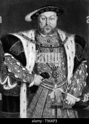Porträt von König Heinrich VIII. in der Royal Collection, Windsor. Henry VIII (28. Juni 1491 bis zum 28. Januar 1547), war König von England von 1509 bis zu seinem Tod. Henry ist am besten für seine sechs Ehen bekannt, insbesondere seine Bemühungen, seine erste Ehe, Katharina von Aragon, für nichtig erklärt. Seine Meinungsverschiedenheiten mit dem Papst auf die Frage einer solchen Aufhebung führte Henry der englischen Reformation zu initiieren, die Trennung der Kirche von England aus der päpstlichen Autorität.