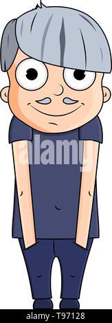 Cute cartoon junge grossvater mit glücklichen Gefühlen. Vector Illustration - Stockfoto