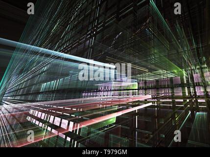 Computer generiert abstrakte tehnology 3D-Abbildung. Dreidimensionale 3D-Fraktale, Textur - Stockfoto
