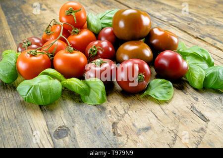 Leckere bunte Bio Tomaten der verschiedenen Arten von frischem Basilikum Blätter auf einem rustikalen Holztisch umgeben