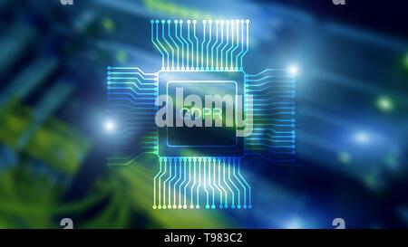 Bipr allgemeine Datenschutzverordnung. Abstract Double Exposure Serverraum. Blue Technologie Hintergrund - Stockfoto