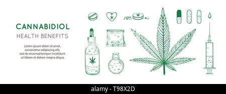 Cannabidiol gesundheitliche Vorteile Vector Hintergrund, Banner. Hand Infografik medizinischen Cannabis, Marihuana gezeichnet. Pillen, Flaschen, Öl und andere - Stockfoto