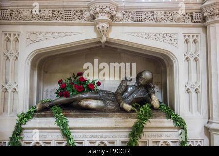Ein lebensgrosses alabaster Statue von William Shakespeare in Southwark Kathedrale von Henry McCarthy, London, UK - Stockfoto