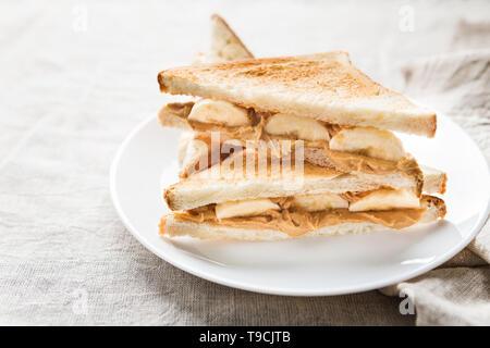 Sandwiches mit Erdnussbutter und Banane - Stockfoto