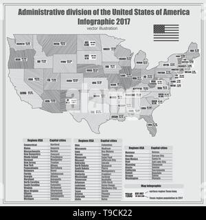 Amerika Karte Schwarz Weiß.Zusammenfassung Karte Von Usa Mit Regionen Und Informationen