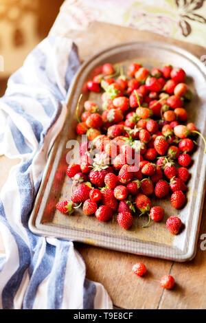 Hintergrund aus erntefrischen Erdbeeren direkt über - Stockfoto