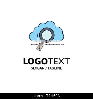 Cloud, Suche, Lagerung, Technik, Datenverarbeitung flachen Farbe Symbol Vektor - Stockfoto