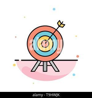 Ziel, Bogenschießen, Pfeil, Brett Abstrakte flachen Farbe Symbol Vorlage - Stockfoto