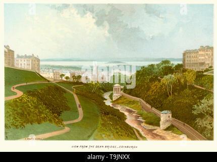 Vintage Print von Edinburgh, Schottland aus der Dean Bridge ca. 1880 - Stockfoto