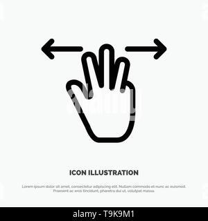 Gesten, Hand, Mobile, drei Finger Symbol Leitung Vektor - Stockfoto