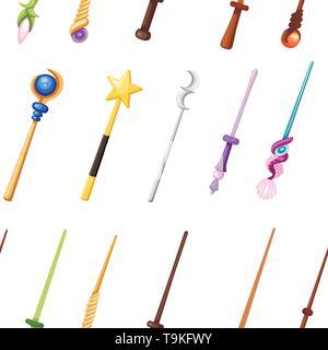 Nahtlose Muster. Magic Wand gesetzt. Fantasy personal Collection. Magische Ausrüstung für Spiele oder Cartoons. Flache Vector Illustration auf weißem Hintergrund. - Stockfoto
