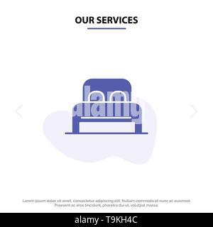 Unsere Dienstleistungen Bett, Schlafen, Zimmer, Hotel solide Glyph Icon Web Karte Vorlage - Stockfoto