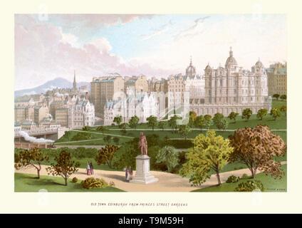Vintage Print in der Altstadt von Edinburgh, von der Princes Street Gardens ca. 1880 - Stockfoto
