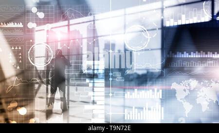 Business Intelligence. Diagramm, Grafik, Stock Trading, Investment Dashboard, transparente verschwommenen Hintergrund. - Stockfoto
