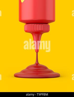 Close-up Ketchup squeeze Flasche gießen auf gelbem Hintergrund. 3D-Render. Vorderansicht. Konzeptionelle Szenen der Serie. - Stockfoto