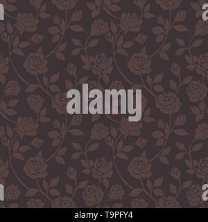 Klassische Rosen nahtlose dunklen Hintergrundbild. Braun Blumen nahtlose Hintergrund, Zeichnung Rose Blume Textur Ornament auf vintage Fliese printting Vektor patter - Stockfoto
