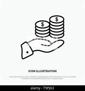 Einsparungen, Pflege, Münze, Wirtschaft, Finanzen, Guarder, Geld, sparen Symbol Leitung Vektor - Stockfoto