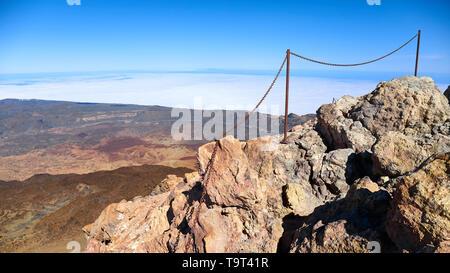 Blick vom Gipfel des Teide, Teide Nationalpark, Teneriffa, Spanien. - Stockfoto