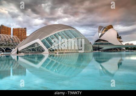 Stadt der Künste und Wissenschaften oder Ciudad de las Artes y las Ciencias, Valencia, Comunidad Valenciana, Spanien - Stockfoto