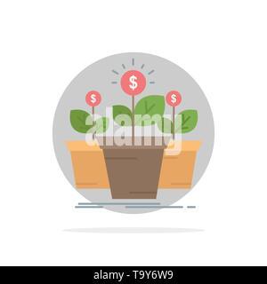 Wachstum, Geld, Anlage, Topf, Baum flachen Farbe Symbol Vektor - Stockfoto