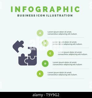 Puzzle , Puzzle, Wissenschaft, Lösung Solid Symbol Infografiken 5 Schritte Präsentation Hintergrund - Stockfoto