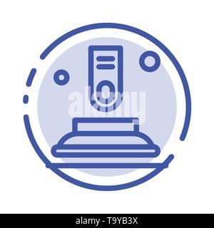 Drücken Sie die Taste, Taste, Finger, Start, blau gepunktete Linie Symbol Leitung - Stockfoto