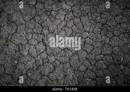 Oberfläche einer grungy Trocken geröstete Rissbildung Erde für strukturelle Hintergrund. - Stockfoto