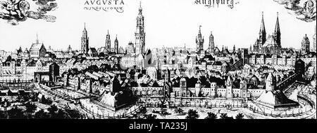 Die Freie Reichsstadt Augsburg in der Mitte des 16. Jahrhunderts. In der Mitte der Perlachturm, das Wahrzeichen der Stadt. Auf der linken Seite die Fuggerei, einem für die Armen und Bedürftigen, gegründet 1519 von Jakob Fugger - Stockfoto