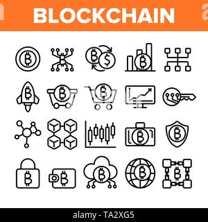 Blockchain Technologie, Cryptocurrency Vector Linear Symbole gesetzt - Stockfoto