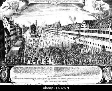 Der Kupferstich von Raphael Kustos und sein Bruder Jakob aus dem Jahr 1634 zeigt die Aufnahme von Gustav Adolf auf dem Weinmarkt in Augsburg am 24.04.1632 und der Hommage, die in der Augsburger Bürger an den schwedischen König. - Stockfoto