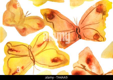 Aquarell von Hand gemalten Hintergrund Abbildung. Aquarell Schmetterlinge auf weißem Hintergrund - Stockfoto