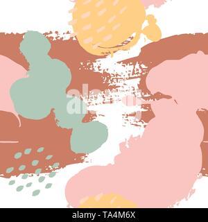 Von Hand bemalt Pinselstriche in Rosa, Senf, Minze, Braun, Weiß. Die nahtlose Vektor abstraktes Muster, Hintergrund der Textur Striche und Punkte, Punkte - Stockfoto
