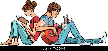 Ein paar jugendliche Mädchen und Jungen. Frau ein Buch lesen, ein Mann mit Gitarre - Stockfoto