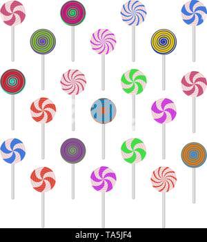 Vektor Sammlung von bunten Lutscher Bonbons in Form von Kugeln, auf weißem Hintergrund. Satz von flachen Spirale Lutscher - Stockfoto