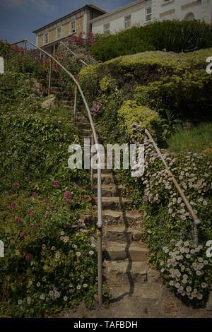 Treppe und Gärten, Ventnor Esplanade, Isle of Wight, Großbritannien, - Stockfoto