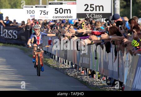 Chloe Waldmeister der USA in Aktion während der Frauen elite Cross Country Mountainbike Weltcup in Nové Město na Moravě, Tschechische Republik, 24. Mai 2019. (CTK Photo/Libor Plihal) - Stockfoto