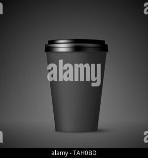 Schwarzes Papier Kaffee Tasse mit Deckel. Kaffee trinken gehen leer Mock up. Vector Illustration auf schwarzem Hintergrund - Stockfoto