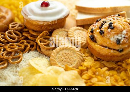 Full Frame Geschossen von Lebensmitteln, ungesunden oder schlechte Kohlenhydrate - Stockfoto