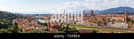 Blick über Florenz, die wichtigsten Sehenswürdigkeiten - Stockfoto