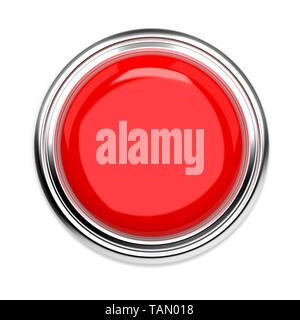 Rote Taste drücken. Alarmsignal, Ansicht von oben. 3D Rendering Illustration auf weißem Hintergrund - Stockfoto