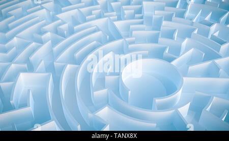 Runde leere Labyrinth oder Irrgarten Luftaufnahme. 3D-Render Abbildung. - Stockfoto
