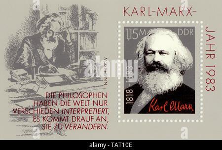 Historische Briefmarken der DDR, politische Motive, Historische Briefmarke der DDR, Karl-Marx-Jahr, Deutsche Demokratische Republik, 1983 - Stockfoto