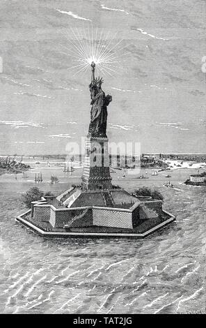 Freiheitsstatue in New York, historische Gravur, 19. Jahrhundert, Freiheitsstatue, die Freiheitsstatue in New York sterben, historischer Stich aus dem 19. Jahrhundert - Stockfoto