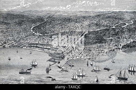 Blick auf die Stadt von Chicago und den Lake Michigan, Illinois, United States, historischer Stich aus dem 19. Jahrhundert, Stadtansicht von Chicago und dem Michigansees, Illinois, USA, historischer Stich aus dem 19. Jahrhundert - Stockfoto