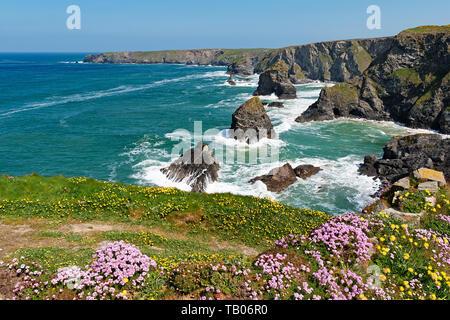 Bedruthan, North Coast, Cornwall, England, Großbritannien, Großbritannien - Stockfoto
