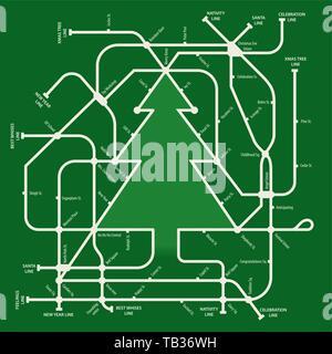 Vector Illustration. U-Karte im Weihnachtsbaum bilden. Illustriert. - Stockfoto