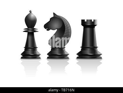 Schwarze Schachfiguren Bischof, der Ritter, rook. Satz von Schachfiguren. Schach Konzept Design. Realistische Vector Illustration auf weißem Hintergrund - Stockfoto