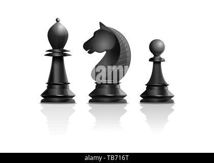 Schwarze Schachfiguren Bischof, der Ritter, Bauer. Satz von Schachfiguren. Schach Konzept Design. Realistische Vector Illustration auf weißem Hintergrund - Stockfoto