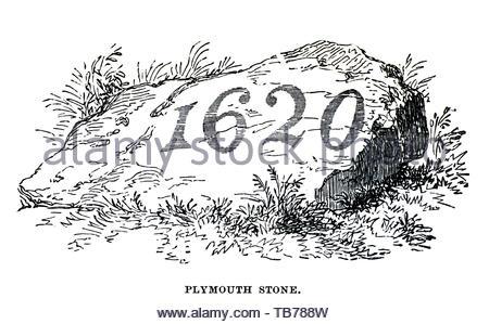 Plymouth Stein ist der Ort der Ankunft der Mayflower Pilger aus England, die Plymouth Kolonie, Plymouth, Massachusetts, im Jahre 1620 gegründet. - Stockfoto